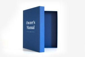 Book cloth ring binder box folder blue