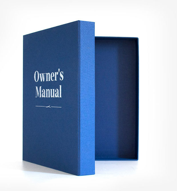 Book cloth ring binder box folder blue