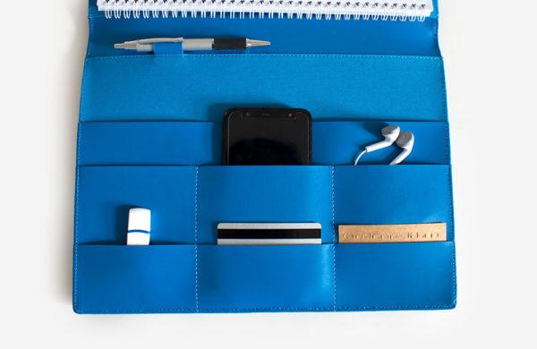 rams A4 leather slim compendium blue blind blocked custom made