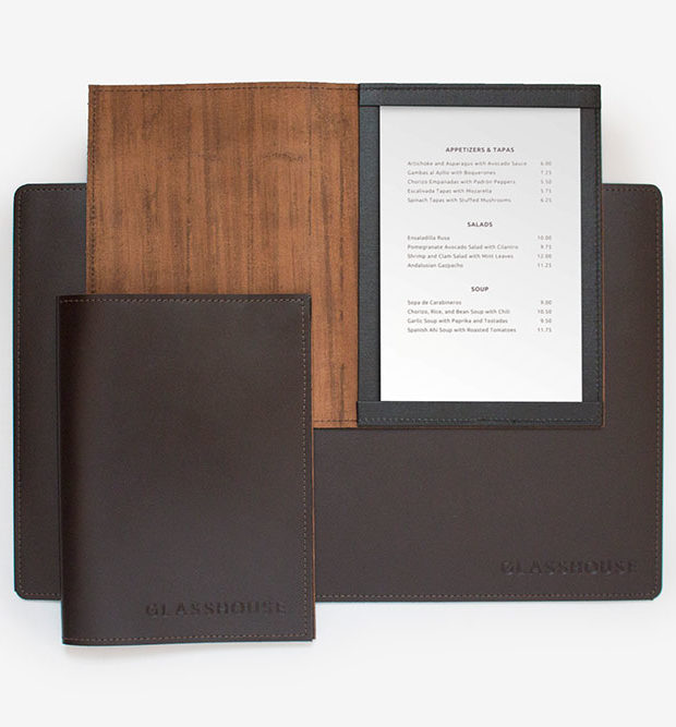glass house leather menu placemat