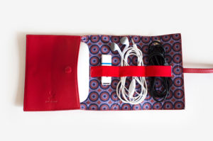 Tourism Australia Tech Wrap with indigenous prints from Thomas Avery navy red