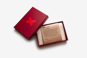 veg tan card holder with box tedx