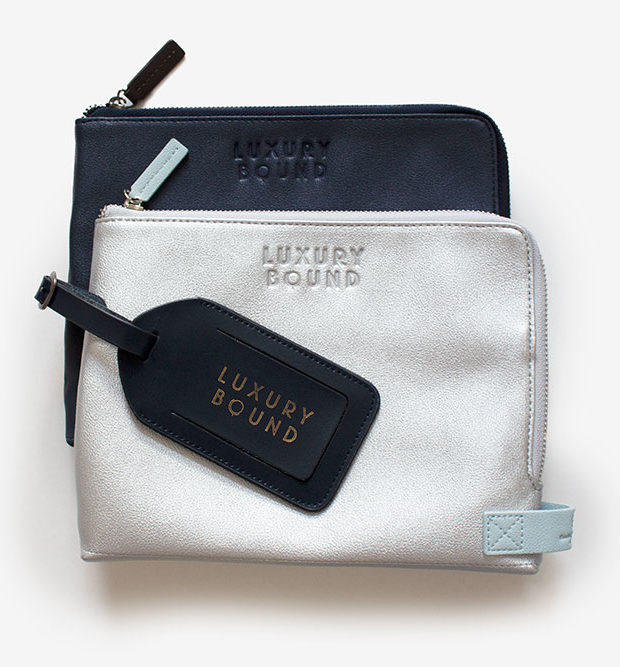Tech pouch and luggage tag set luxury bound navy silver