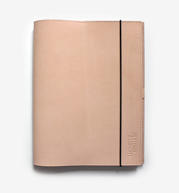 A4 vegetable leather tan elastic folder