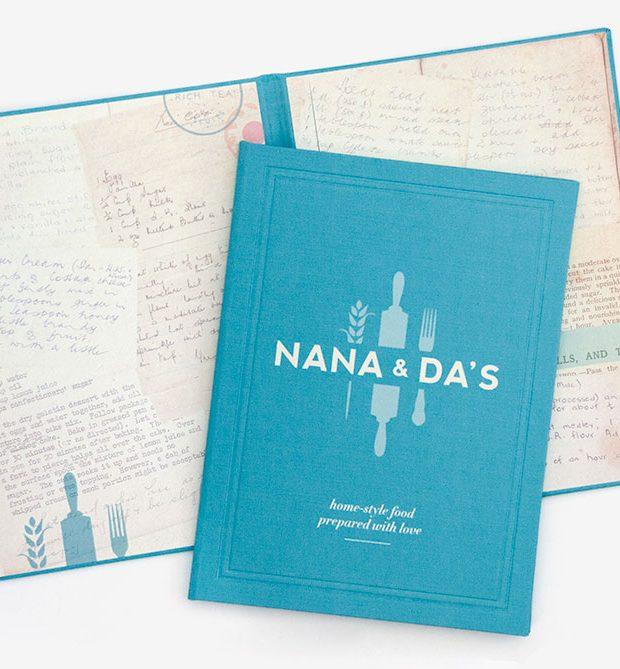 A5 book cloth menu with digitally printed lining Nana & Da's