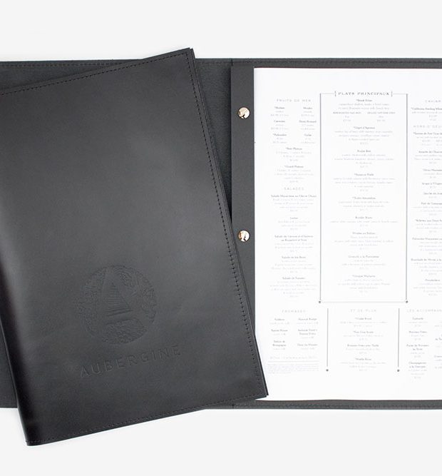 Aubergine A4 genuine leather menu with leather spine and sliver screws