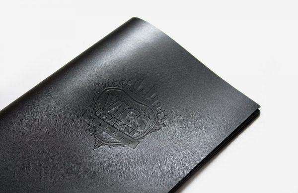 Vics Meat Market Penfolds leather menu and bill folder